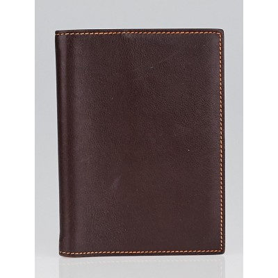 Hermes Brown Swift Leather/Orange Chevre PM Agenda/Notebook Cover