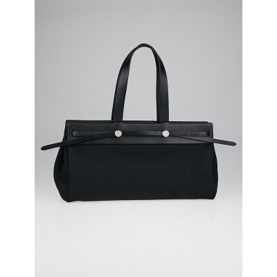 Hermes 40cm Black Canvas and Vache Calfskin Leather Herbag Cabas MM 2-in-1 Tote Bag