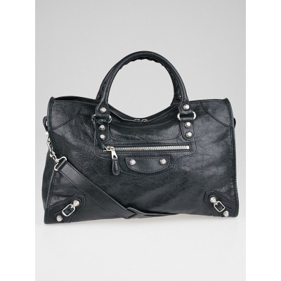Balenciaga Anthracite Lambskin Leather Giant 12 Silver City Bag