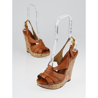 Chloe Brown Leather Renna Cork Wedge Sandals Size 8.5/39