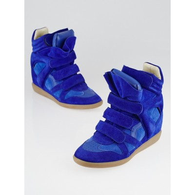 Isabel Marant Blue Suede and Leather Bekett Over Basket Sneaker Wedges Size 8.5/39