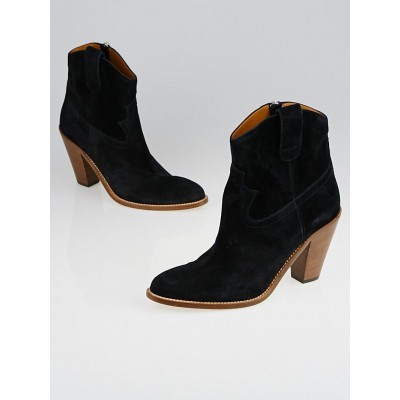 Yves Saint Laurent Black Suede New Western Ankle Boots Size 8.5/39