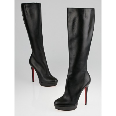 Christian Louboutin Black Leather Bianca Botta 140 Knee High Boots Size 8.5/39