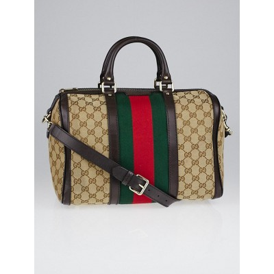 Gucci Beige/Ebony GG Canvas Vintage Web Medium Boston Bag w/ Shoulder Strap