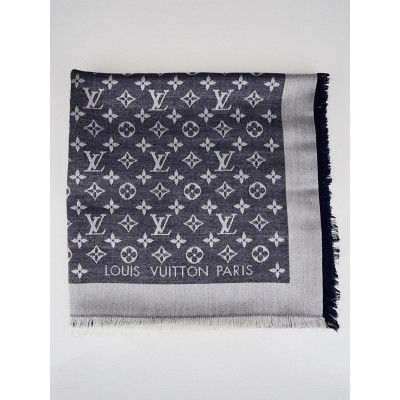 Louis Vuitton Blue Monogram Denim Silk/Wool Shawl Scarf