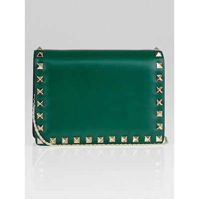 Valentino Emerald Nappa Leather Rockstud Mini Crossbody Chain Bag