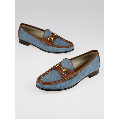 Gucci Blue Denim and Brown Leather Horsebit Driving Loafers Size 7/37.5