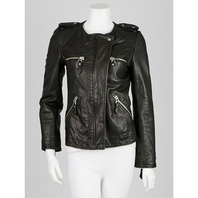 Isabel Marant Etoile Black Washed Leather Kady Jacket Size 4/36