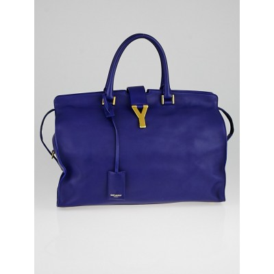 Saint Laurent Blue Calfskin Leather Large Cabas Y Bag