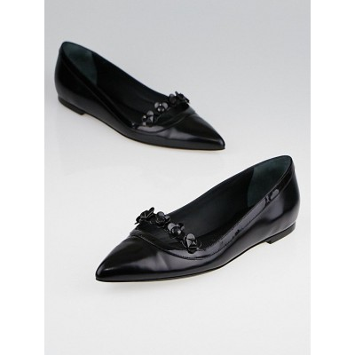 Louis Vuitton Black Patent Leather Pointed Toe Mary Jane Flats Size 7.5/38