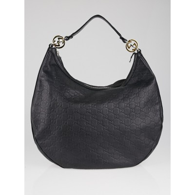 Gucci Black Guccissima Leather Twins Large Hobo Bag