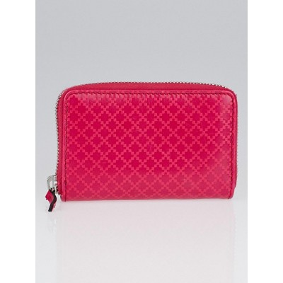 Gucci Pink Diamante Leather Zip Around Card Case Wallet