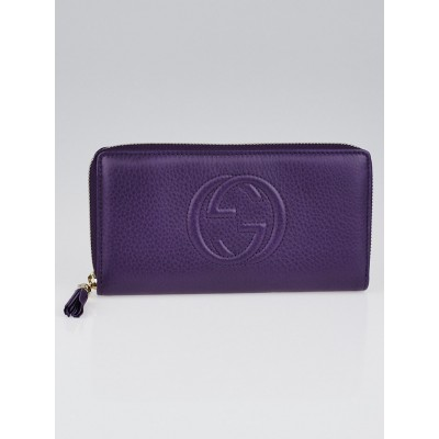 Gucci Purple Pebbled Leather Soho Long  Zippy Wallet