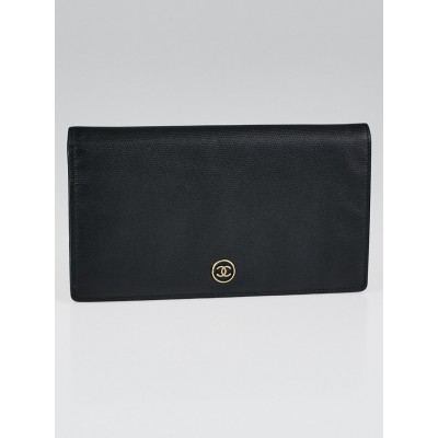 Chanel Black Leather Long Bi-Fold Wallet