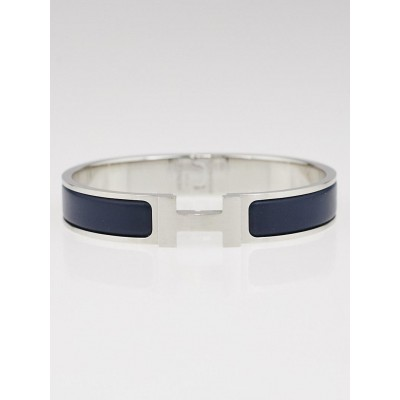 Hermes Midnight Blue Loden Enamel Brushed Palladium Plated Clic HH Narrow Bracelet