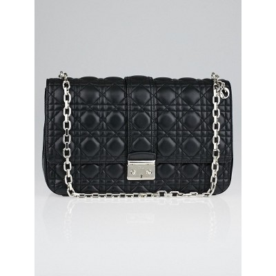 Christian Dior Black Cannage Quilted Lambskin Leather Miss Dior Large Flap Bag