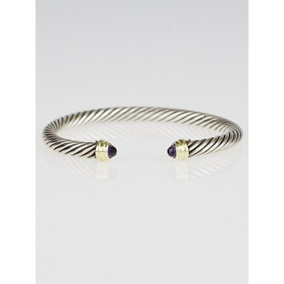 David Yurman 5mm Sterling Silver and Amethyst Cable Classics Bracelet