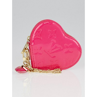 Louis Vuitton Rose Pop Monogram Vernis Heart Coin-Purse
