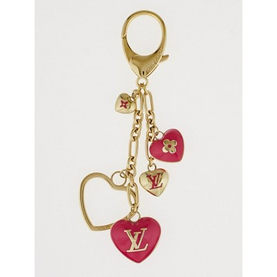 Louis Vuitton Pink Monogram Hearts Key Holder and Bag Charm