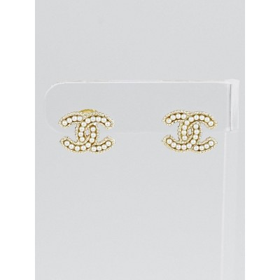 Chanel Goldtone Metal and Faux Pearl CC Stud Earrings