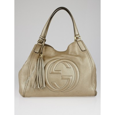 Gucci Gold Pebbled Leather Soho Shoulder Bag