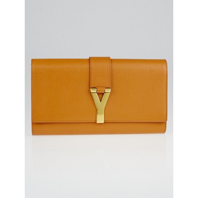 Yves Saint Laurent Brown Textured Calfskin Leather Ligne Y Clutch Bag