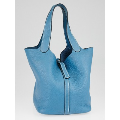 Hermes Blue Jean Clemence Leather Picotin MM Bag
