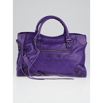 Balenciaga Ultraviolet Lambskin Leather Motorcycle City Bag