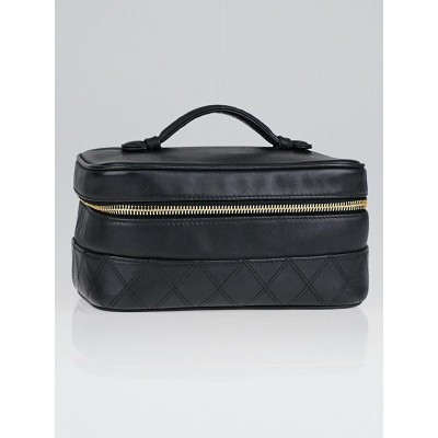 Chanel Black Leather Travel Cosmetic Case Bag