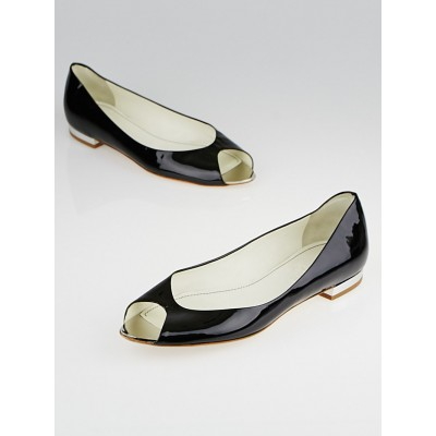 Chanel Black Patent Leather Peep-Toe Flats Size 8.5/39
