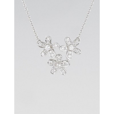 Van Cleef & Arpels 18k White Gold and Diamonds Socrate Three Flower Pendant