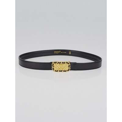 Chanel Black Leather CC Chain Buckle Belt Size 65/26