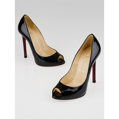 Christian Louboutin Black Patent Leather Flo 120 Peep Toe Pumps Size 4.5/35