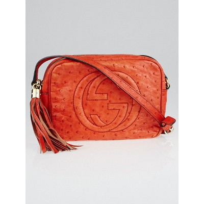 Gucci Orange Ostrich Soho Disco Shoulder Bag