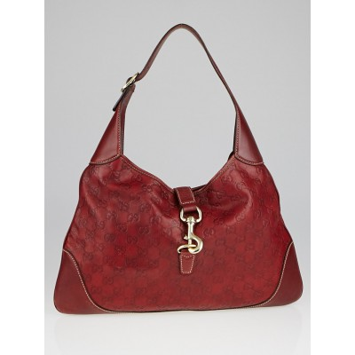 Gucci Red Guccissima Leather Jackie O Hobo Bag