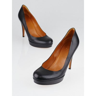 Gucci Black Leather Betty Mid-Heel Platform Pumps Size 8/38.5