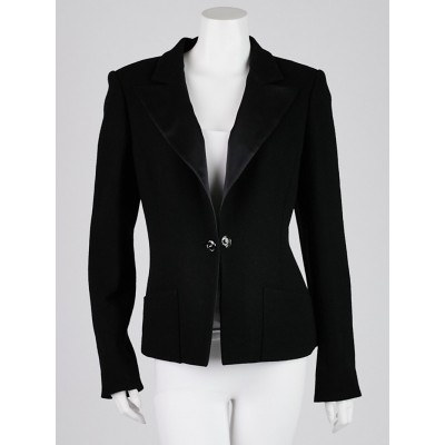 Chanel Black Wool Blazer Jacket Size 12/44