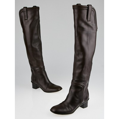 Gucci Brown Leather Over-the-Knee Boots Size 7.5/38