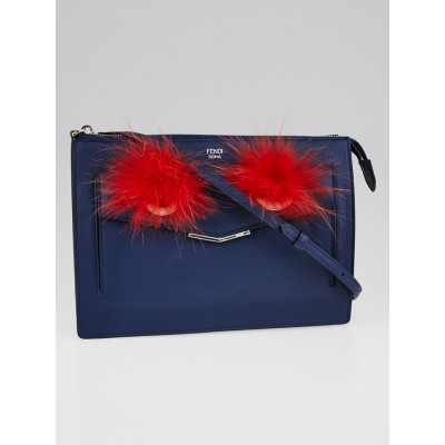 Fendi Blue Leather Monster Clutch Bag 8M0362