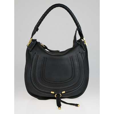 Chloe Black Calfskin Leather Medium Marcie Hobo Bag