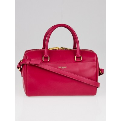 Yves Saint Laurent Fuchsia Calfskin Leather Classic Baby Duffle Bag