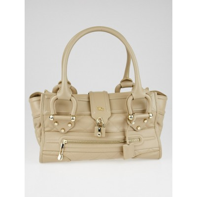 Burberry Beige Quilted Leather Large Manor Bag