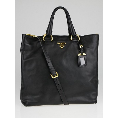 Prada Black Soft Calf Leather Large Shopping Tote Bag BN1713