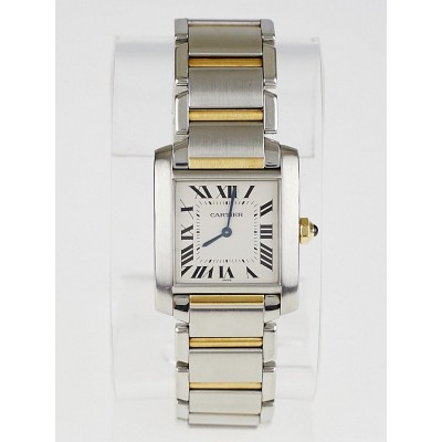 Cartier  Stainless Steel and 18k Yellow Gold Tank Francaise Medium Swiss Quartz Watch W51006Q403