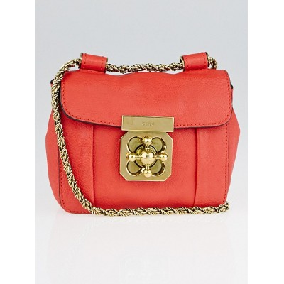Chloe Red Leather Mini Elsie Chain Bag