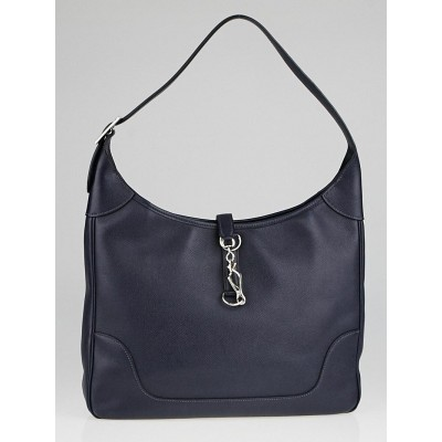 Hermes 35cm Navy Blue Epsom Leather Trim II Bag