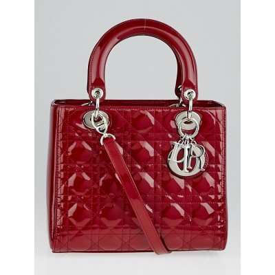 Christian Dior Red Patent Leather Lady Dior Medium Tote Bag
