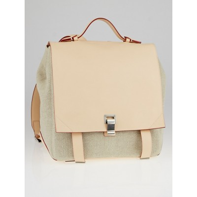 Proenza Schouler Natural Linen and Leather PS Courier Backpack Bag