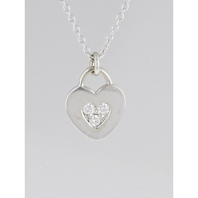 Tiffany & Co. 18k White Gold and Diamond Paloma Picasso Modern Heart Pendant Necklace