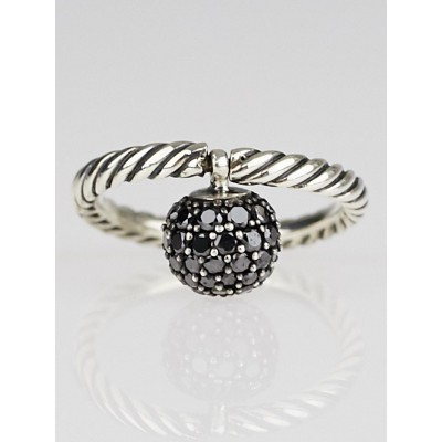 David Yurman Black Pave Diamond Ball and Sterling Silver Cable Stack Ring Size 6.5
